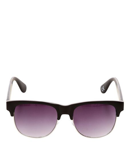 Black Half Frame Sunglasses | New Look