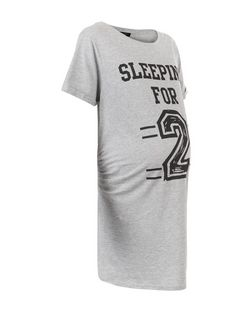 Maternity Grey Sleeping For 2 Print Nightshirt | New Look