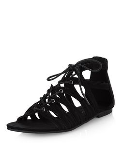 Teens Black Suedette Ghillie Sandals | New Look