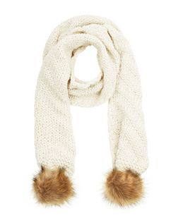 Cream Pom Pom End Scarf | New Look