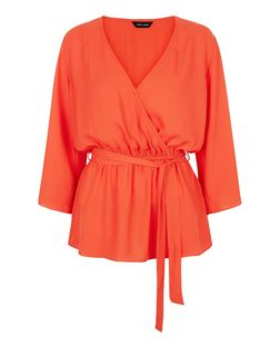 Bright Orange Wrap Front Bell Sleeve Top  | New Look