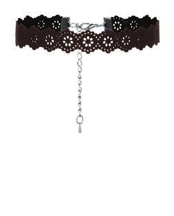 Black Suedette Laser Cut Out Choker | New Look