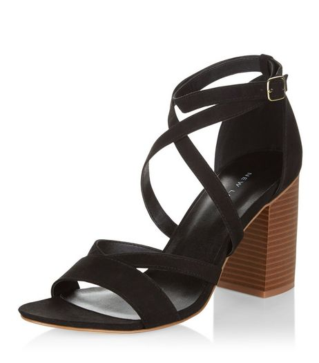Black Suedette Cross Strap Block Heel Sandals  | New Look