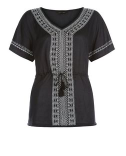Black Embroidered V Neck Tie Waist Top | New Look
