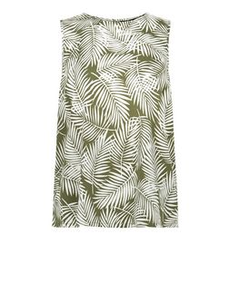Green Palm Leaf Print Split Back Sleeveless Top  | New Look