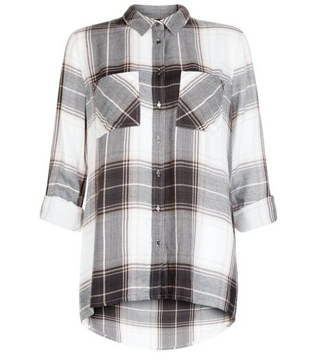 White Check Double Pocket Roll Sleeve Shirt  | New Look