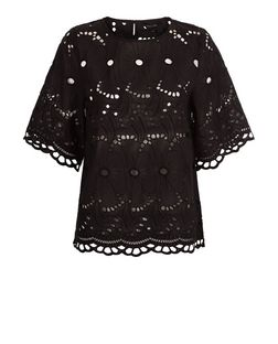 Black Floral Cut Out 1/2 Sleeve Top  | New Look