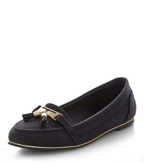 Black Croc Texture Tassel Front Loafers  | New Look