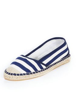 Blue Stripe Espadrilles  | New Look