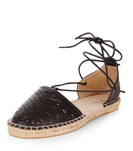 Black Laser Cut Out Ghillie Espadrilles | New Look