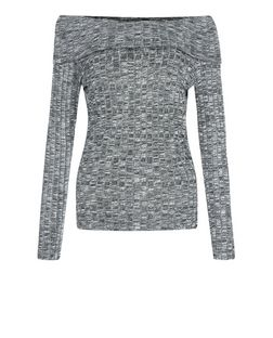 Dark Grey Ribbed Fine Knit Fold Over Bardot Neck Top  | New Look