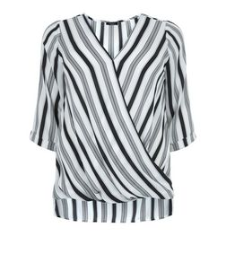 Plus Size White Stripe Wrap Top | New Look