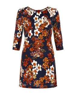 Pussycat Navy Floral Print Cut Out Back Tunic | New Look