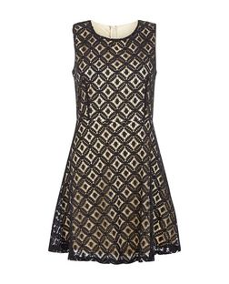 Pussycat Black Lace Abstract Print Skater Dress | New Look
