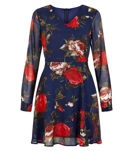 Pussycat Navy Floral Print Long Sleeve Skater Dress  | New Look
