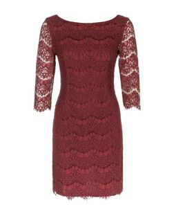 Apricot Burgundy Lace Bodycon Dress | New Look
