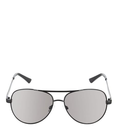 Black Double Bar Pilot Sunglasses  | New Look