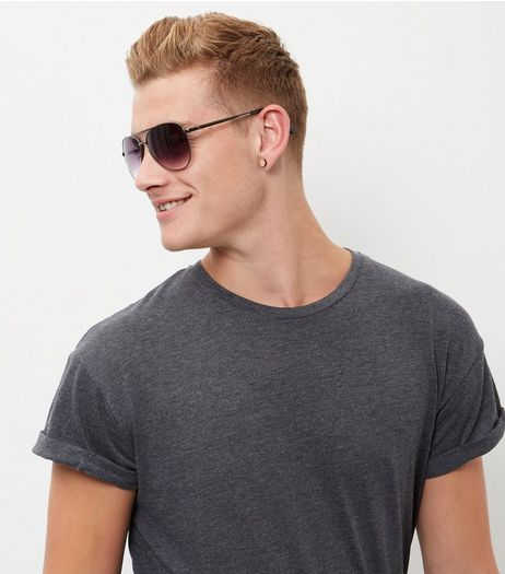Dark Grey Double Bar Pilot Sunglasses | New Look