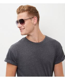 Pewter Double Bar Pilot Sunglasses | New Look