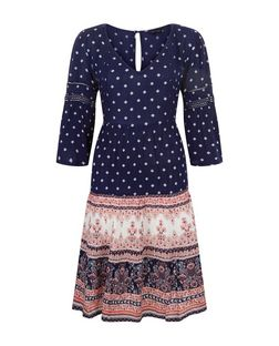 Blue Tile Print 1/2 Sleeve Smock Dress  | New Look