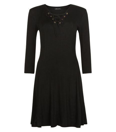 Black Eyelet Lace Up Swing Dress  | New Look