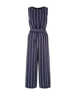 Blue Stripe D-Ring Belted Jumpsuit  | New Look