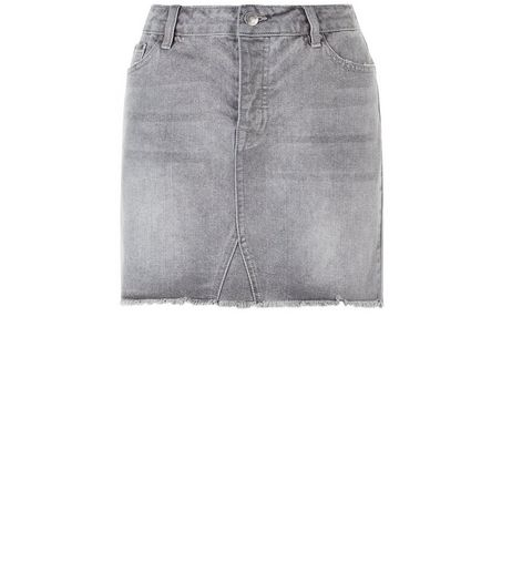 Dark Grey Fray Hem Denim Skirt  | New Look