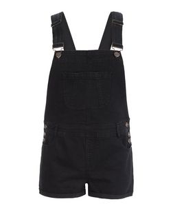 Curves Black Short Dungarees | New Look