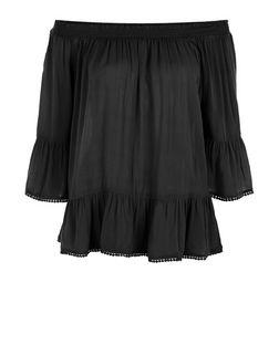 Black Frill Hem Bardot Neck Top | New Look