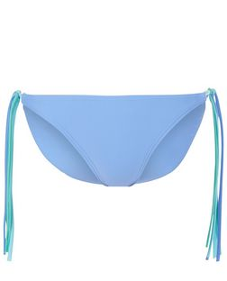 Blue Fringed Side Bikini Bottoms | New Look