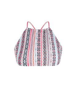Pink Aztec Print High Neck Bikini Top | New Look