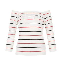 White Stripe Bardot Neck Top  | New Look
