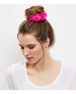Bright Pink Faux Fur Scrunchie | New Look