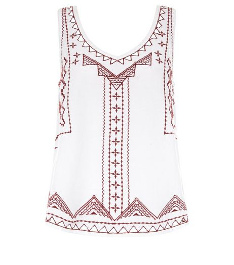 White Embroidered V Neck Sleeveless Top | New Look