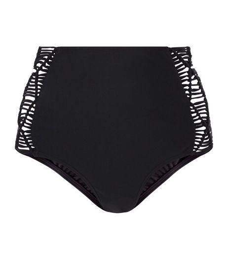 Black Cut Out Side Bikini Bottoms | New Look