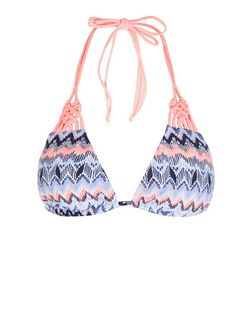 Pink Zig Zag Print Knotted Bikini Top | New Look