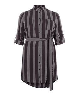 Plus Size Black Stripe Tie Waist Shirt Dress  | New Look