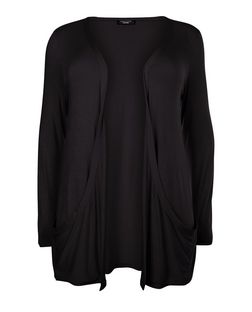 Plus Size Black Drop Pocket Cardigan | New Look