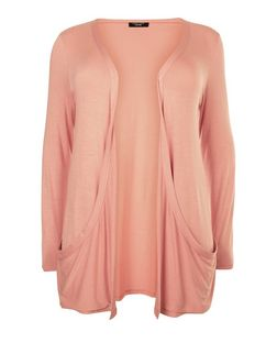 Plus Size Coral Drop Pocket Cardigan | New Look