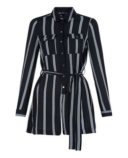 Petite Black Stripe Tie Waist Shirt Playsuit  | New Look