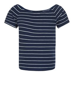 Teens Blue Stripe Bardot Neck Top | New Look