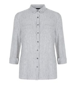 Petite White Stripe Double Pocket Shirt | New Look