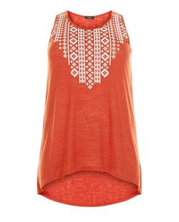 Plus Size Orange Embroidered Top | New Look