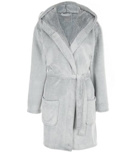 Grey Fluffly Hooded Dressing Gown  | New Look
