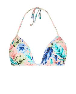 Pink Tropical Print Bikini Top | New Look
