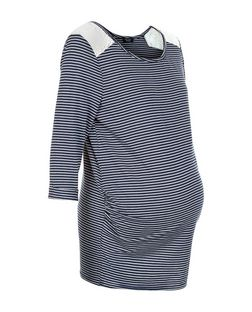 Maternity Blue Stripe Crochet Shoulder Top  | New Look