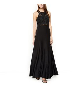 AX Paris Black Crochet Top Maxi Dress | New Look