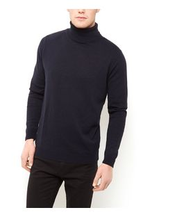 Navy Turtle Neck Jumper  | New Look