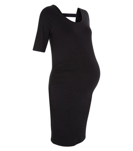 Maternity Black Bar Back Dress | New Look