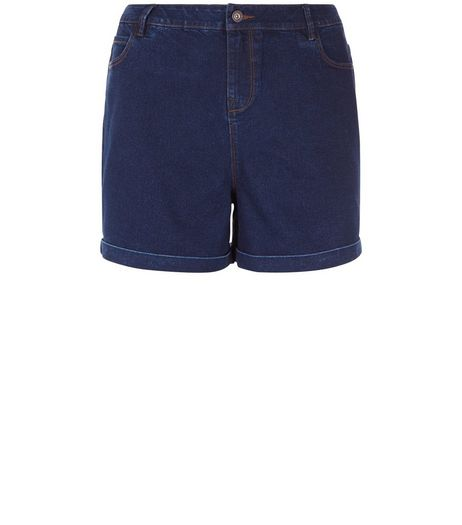 Curves Navy Denim Shorts | New Look